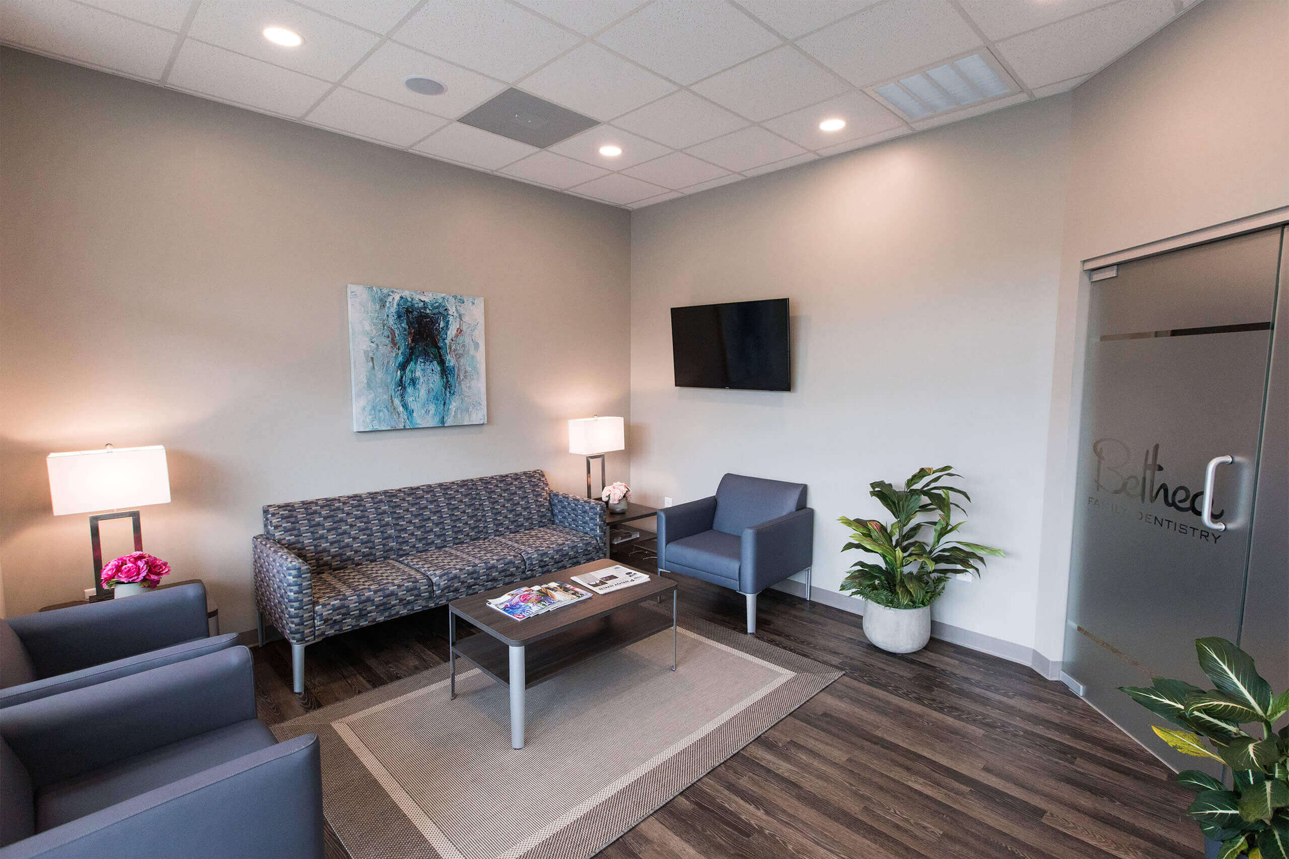 Patient waiting area inside Bethea Family Dentistry in Columbia, SC