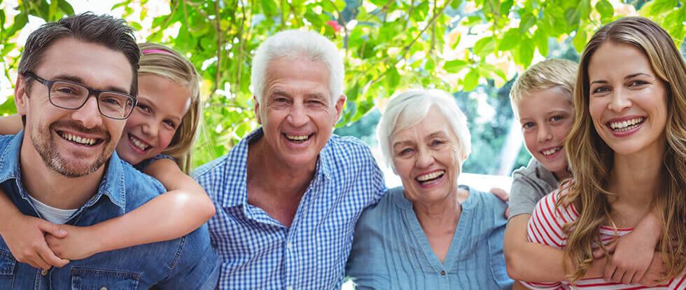 happy, multi-generational family