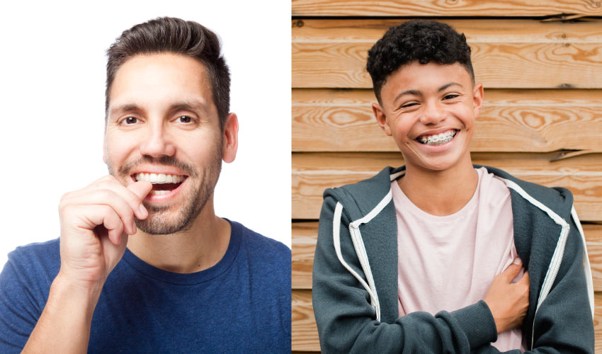Side by side photo of a man with Invisalign aligners and a teenage boy with braces