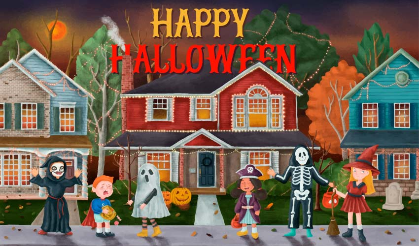 Cartoon image of kids in costumes trick or treating for Halloween candy